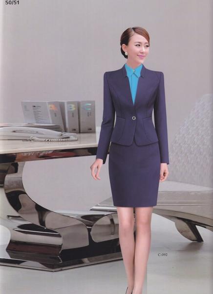 1粒扣小立领经典女款职业裙装
