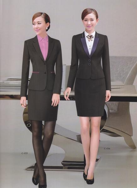 二粒扣女款企业制服